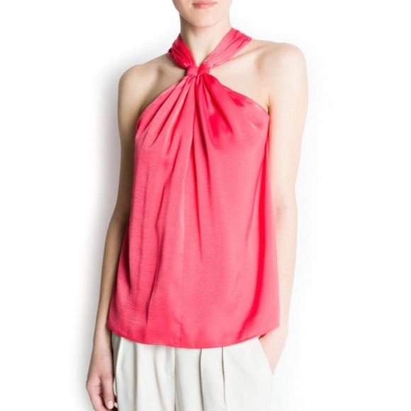 SALEMango Suit Pink Halter Neck Top A sophisticated and feminine halter neck top from the Mango Suit collection. Used only once! Mango Tops Blouses