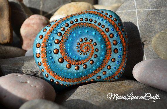 Mandala rock Blue decor Orange decor dot art by MariaLucescuCrafts