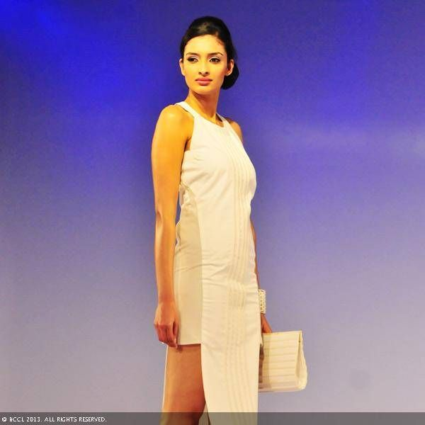 A model showcases a designer creation during Hamstech fashion show, organised at N Convention centre in Hyderabad