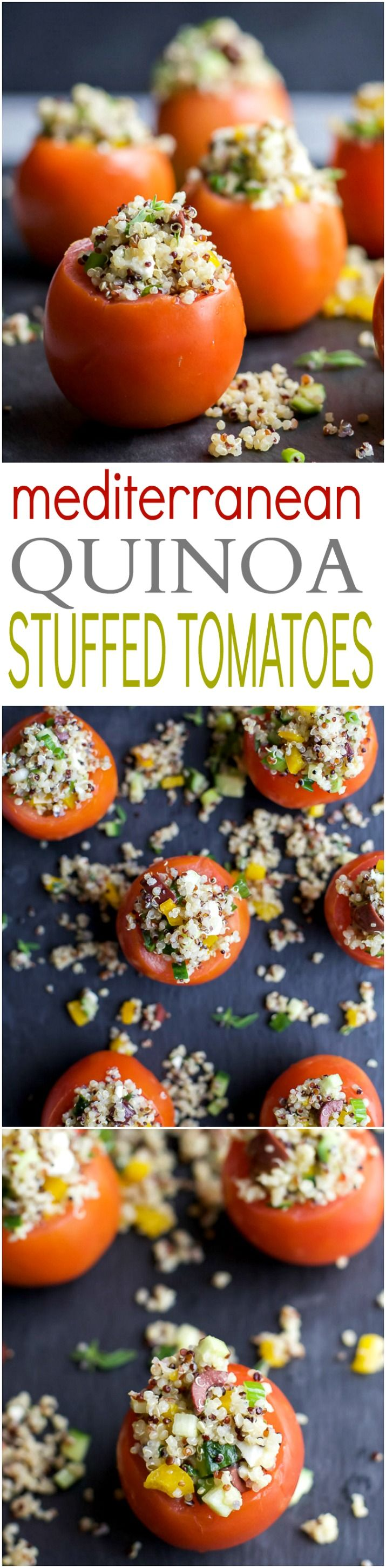 MEDITERRANEAN QUINOA STUFFED TOMATOES - an easy, light, and refreshing vegetarian recipe that's only 142 calories! The perfect side dish for your next summer party! | joyfulhealthyeats.com | gluten free recipes