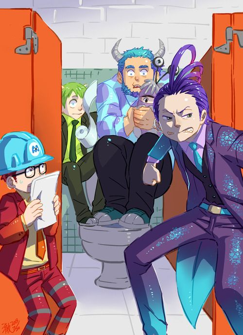 Monsters Inc. , anime style (I normally don't like humanized versions of non-human characters unless there's a good reason for it, but I had to repin this one because Randall looks SO COOL!!!)