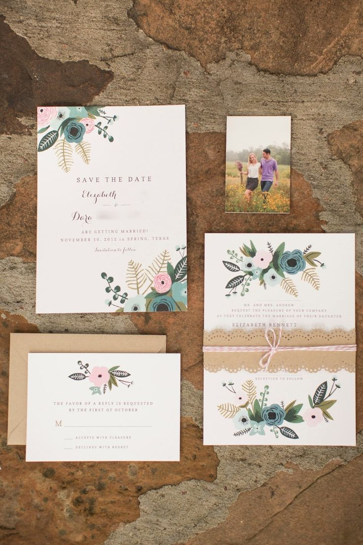 Mrs. Wallaby hand-painted her invitation suite inspired by Rifle Paper Co. All of the paper goods were printed by CatPrint on recycled cardstock. The Wallabies included Moo cards with their wedding website for guests to track down additional info about the nuptials. Photo by Mustard Seed Photography