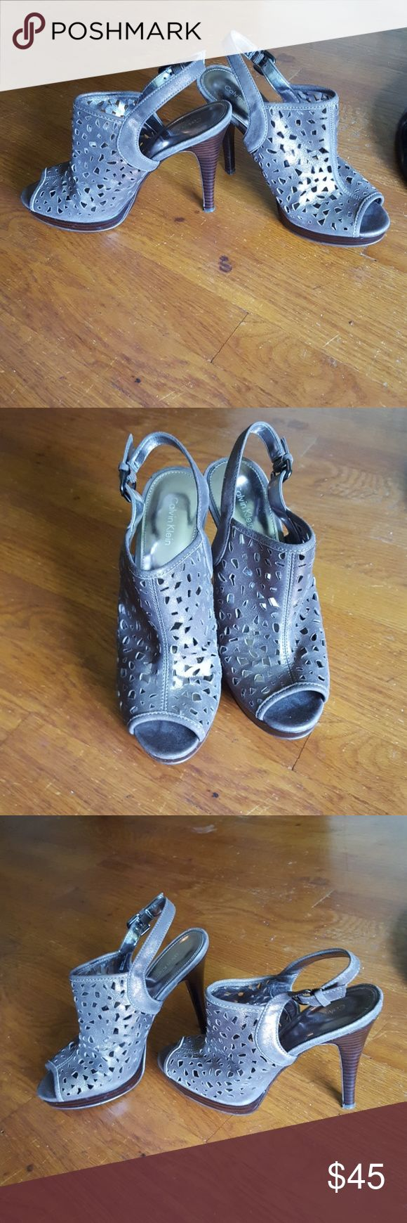 Calvien Klein heels used very good condition pewter Shoes Platforms