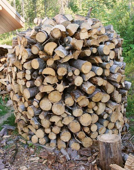 Build a holz hausen to dry firewood fast from #backwoodshomemagazine