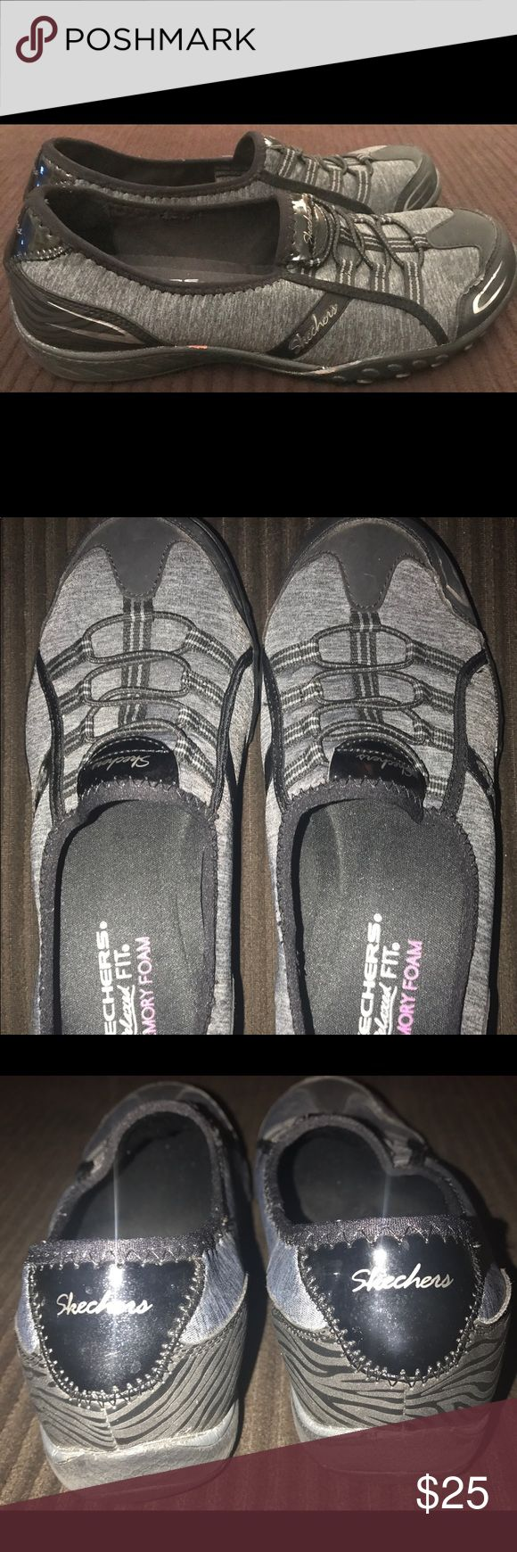 Ladies shoes Skechers relaxed fit memory foam slip on. Dark gray and black. Great condition. Skechers Shoes Athletic Shoes