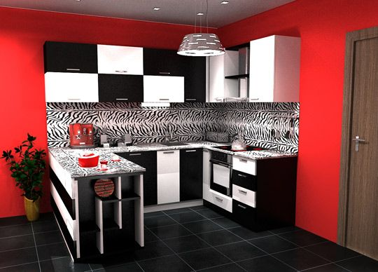 Modern black and white kitchen with red wall painted, i like the concept,  but dont want the checkers look lol | Homey things<3 | Pinterest | Kitchens,  ...