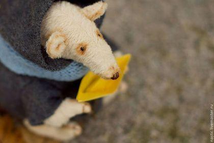 бумажные кораблики - бежевый,крыса,крысенок,крыс,авторская игрушка,вискоза