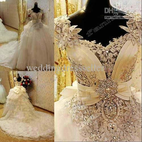 Free shipping, $423.25/Piece:buy wholesale 2015 New Arrival Bling Bling Crystals luxury ball gown tulle wedding dress v-neck handmade flower cathedral train Wedding Dresses 2014 from DHgate.com,get worldwide delivery and buyer protection service.