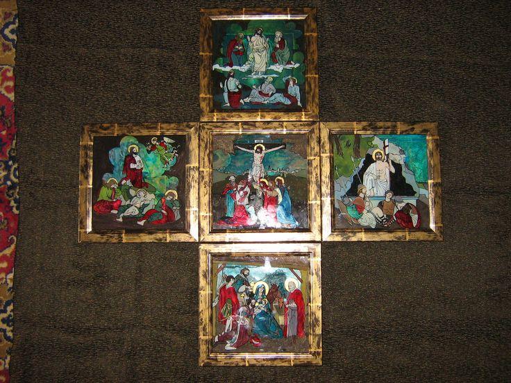 Sfanta cruce a Mantuitorului- compozitie de cinci icoane pe sticla de 20x20 cm, VANDUT