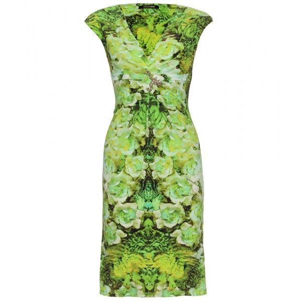 Roberto Cavalli Floral Print Stretch Dress ($756) ❤ liked on Polyvore featuring dresses, green, vestidos, short dresses, flower printed dress, short green dress, stretch dresses, floral printed dress and mini dress