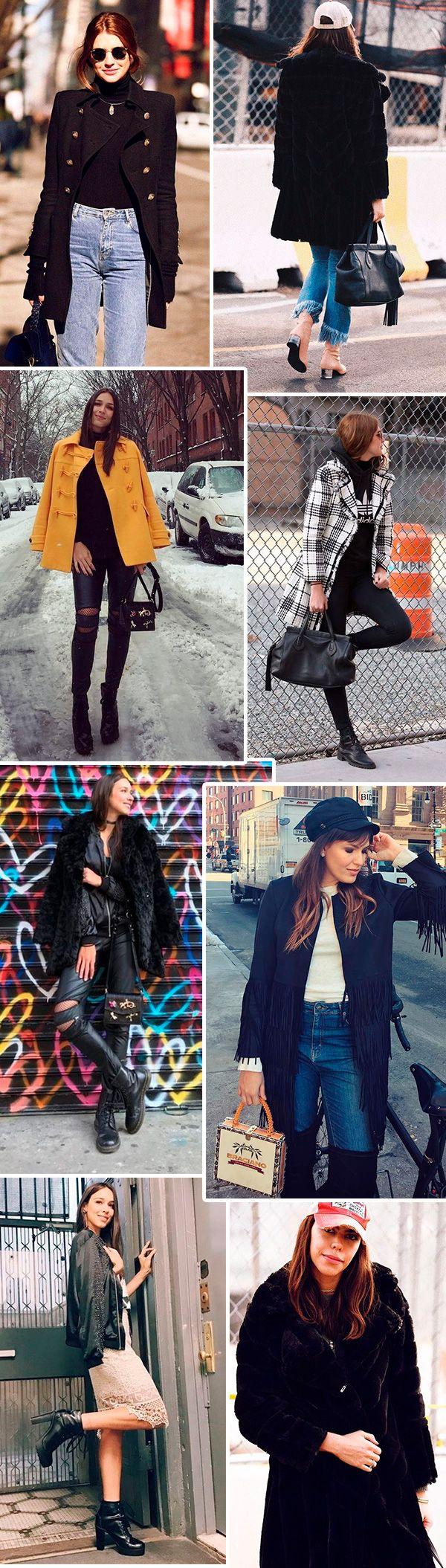 Street style da semana de moda de NY no inverno –muito casaco, botas e jeans
