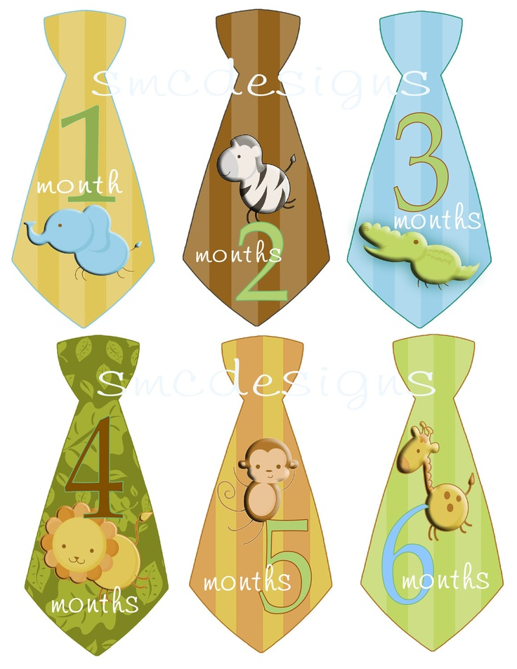Baby Monthly Onesie Stickers Baby Boy Gift Safari Jungle Animals Blue Green Brown uncut Tie. $7.95, via Etsy.
