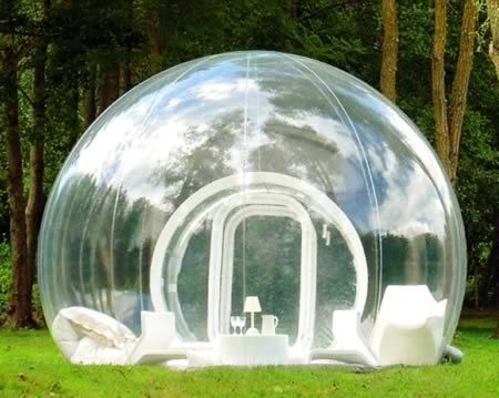 Transparent Bubble Tent      Anybody trying these outdoor gadgets might want to bring a pair of curtains. Although they look and feel more like giant goldfish bowls, these latest inventions are actually totally see-through inflatable tents. With incredible panoramic views of the surrounding countryside, the bizarre transparent structures are designed to get people as close to nature as possible