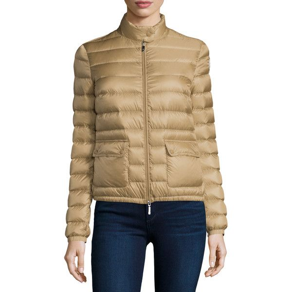 ... beige; moncler lans short puffer jacket 695 liked on polyvore featuring outerwear