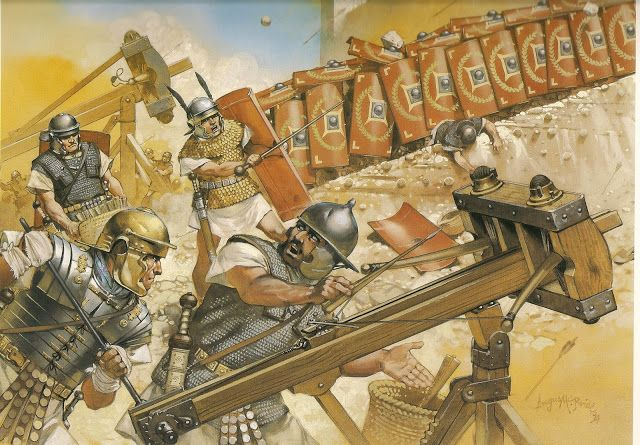 Roman Testudo and Ballista in a siege against a Jewish Fortress, I Century AD. - art by Angus McBride.