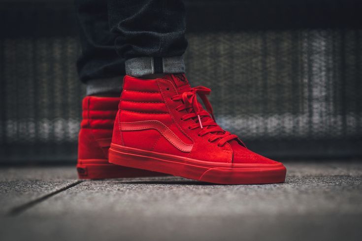 The Vans SK8-Hi is treated in the ubiquitous All-Red colorway this season. Find a pair at Vans retailers overseas now.