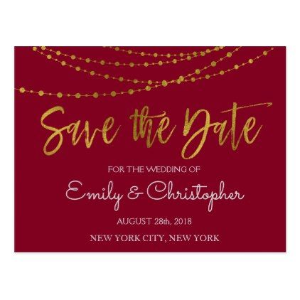 Burgundy Marsala and Gold Foil Save the Date Postcard - postcard post card postcards unique diy cyo customize personalize