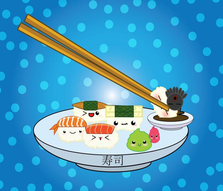 kwaii  | Kawaii sushi wallpaper
