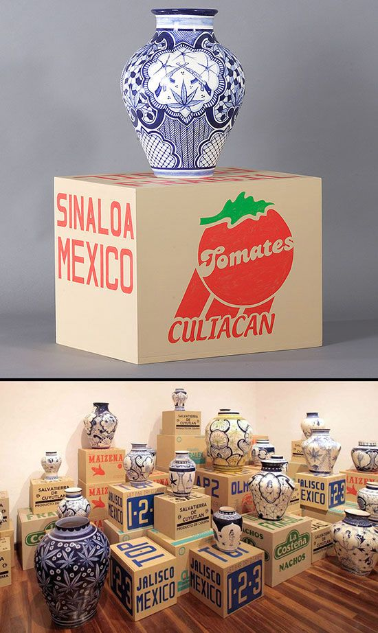 Eduardo Sarabia art installation with ceramic vases and custom shipping boxes