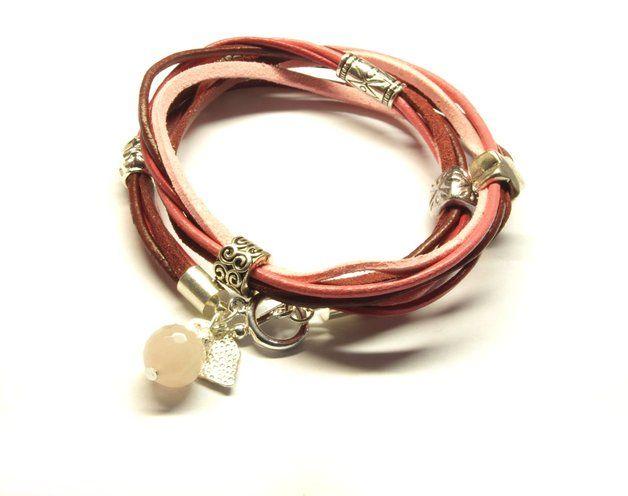 Wickelarmband Leder Modulperlen rosa silber #3