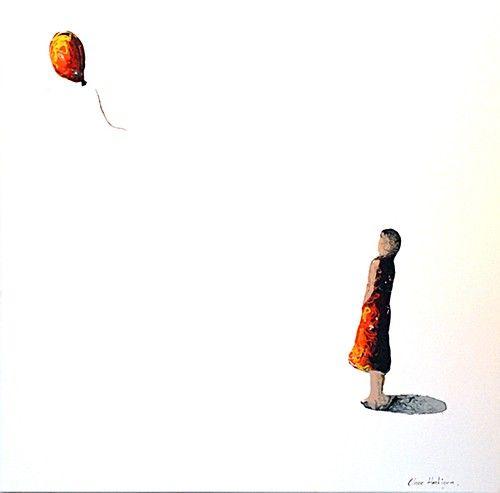 "Clare Hartigan, ""Letting Go"" #art #balloon #paintdrips #pollock #letgo #flying #splater #painting #DukeStreetGallery"