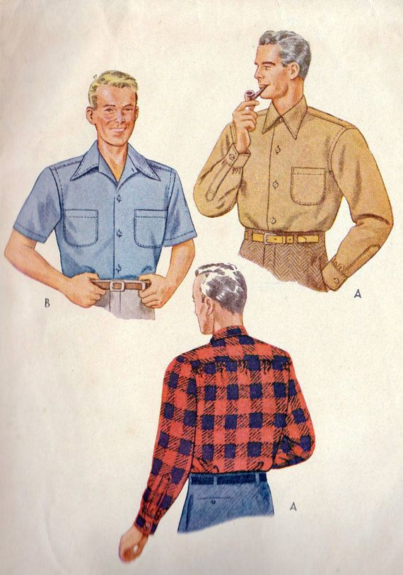 1940s Mens Button Down Shirt Vintage Sewing by MissBettysAttic, $12.00
