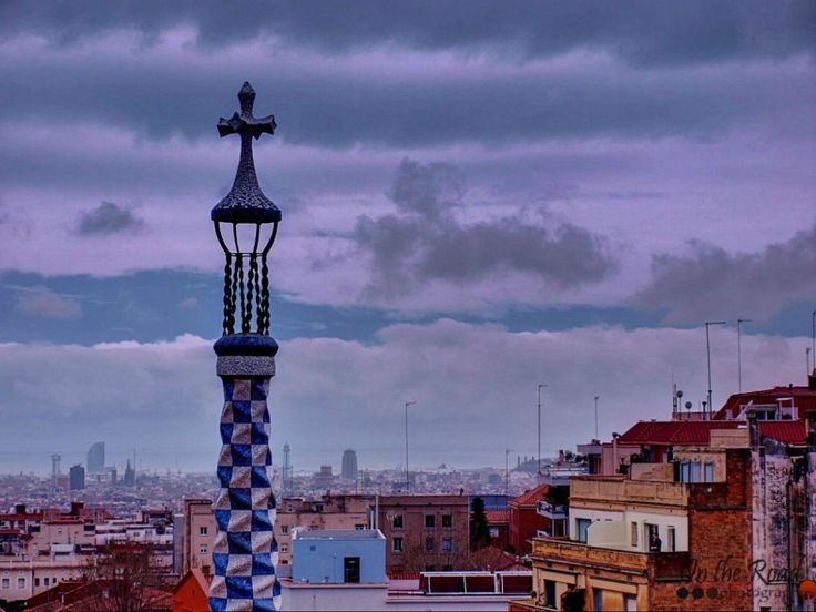 Beautiful view over the city of Barcelona, from Guell Park.
