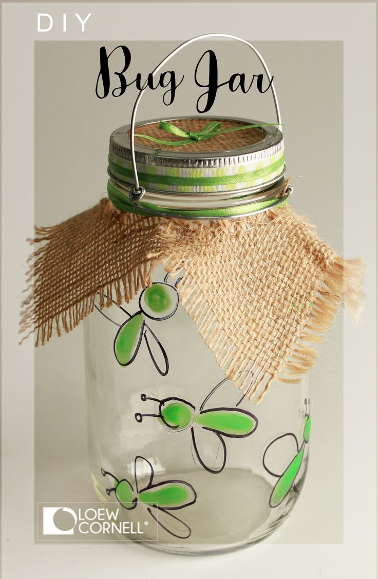 Make this super cute diy craft idea with a little glow paint, burlap and a Transform Mason handle. Makes a terrific bug catcher jar!