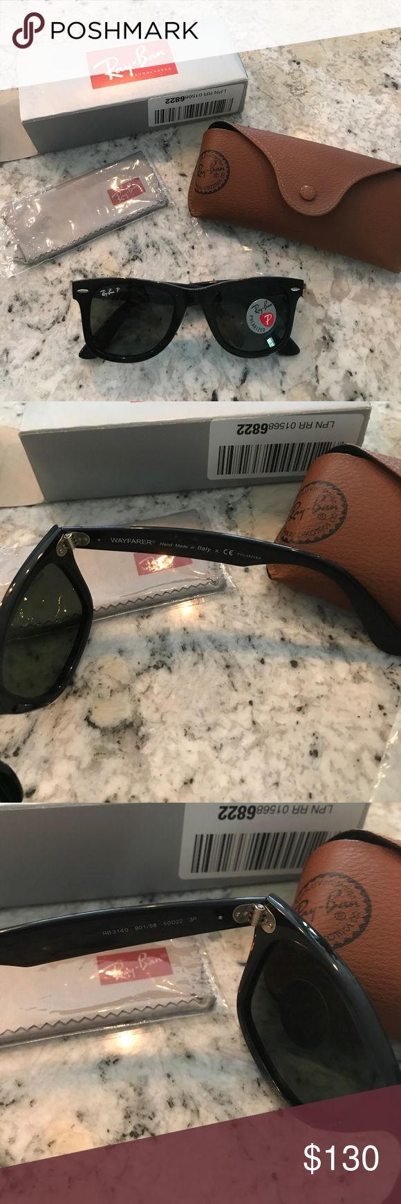 Brand New Ray Ban Wayfarer polarized sunglasses These are brand new in the box - only taken out for pictures! My husband ordered these by mistake and forgot to return them 🙄 they are polarized and unisex! they come with a new, sealed dust cloth and brown leather case! Ray-Ban Accessories Sunglasses