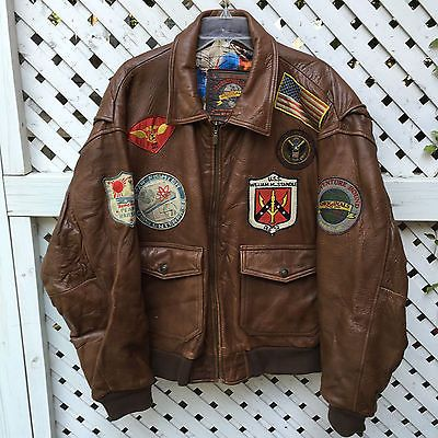 Wilson's Adventure Bound Heavy Wt Leather Bomber Jacket Men's XL Brown w Patches