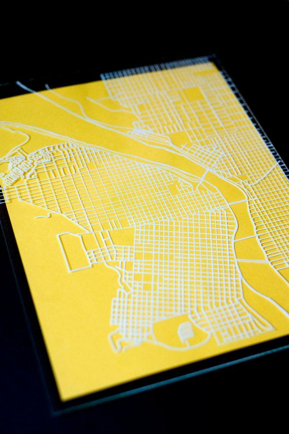 portland map painted on glass by erinreneedesign on etsy