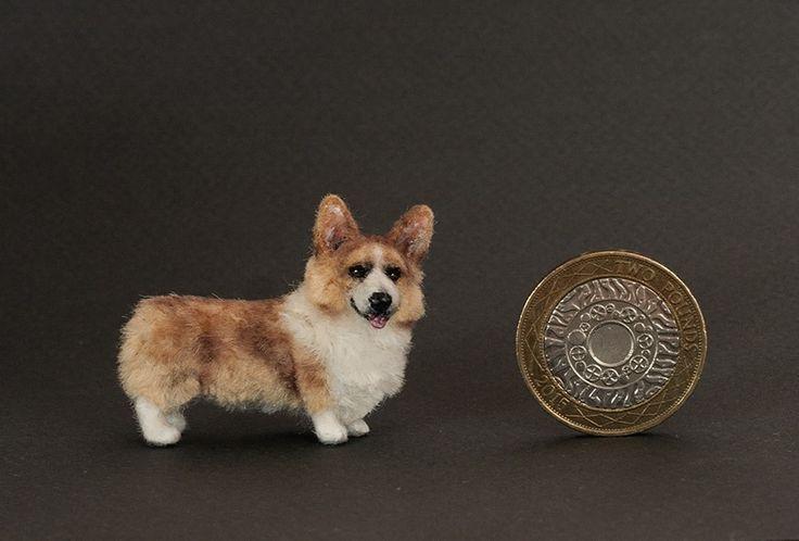 OOAK Dollhouse miniature dog - Welsh Corgi Pembroke 1:12