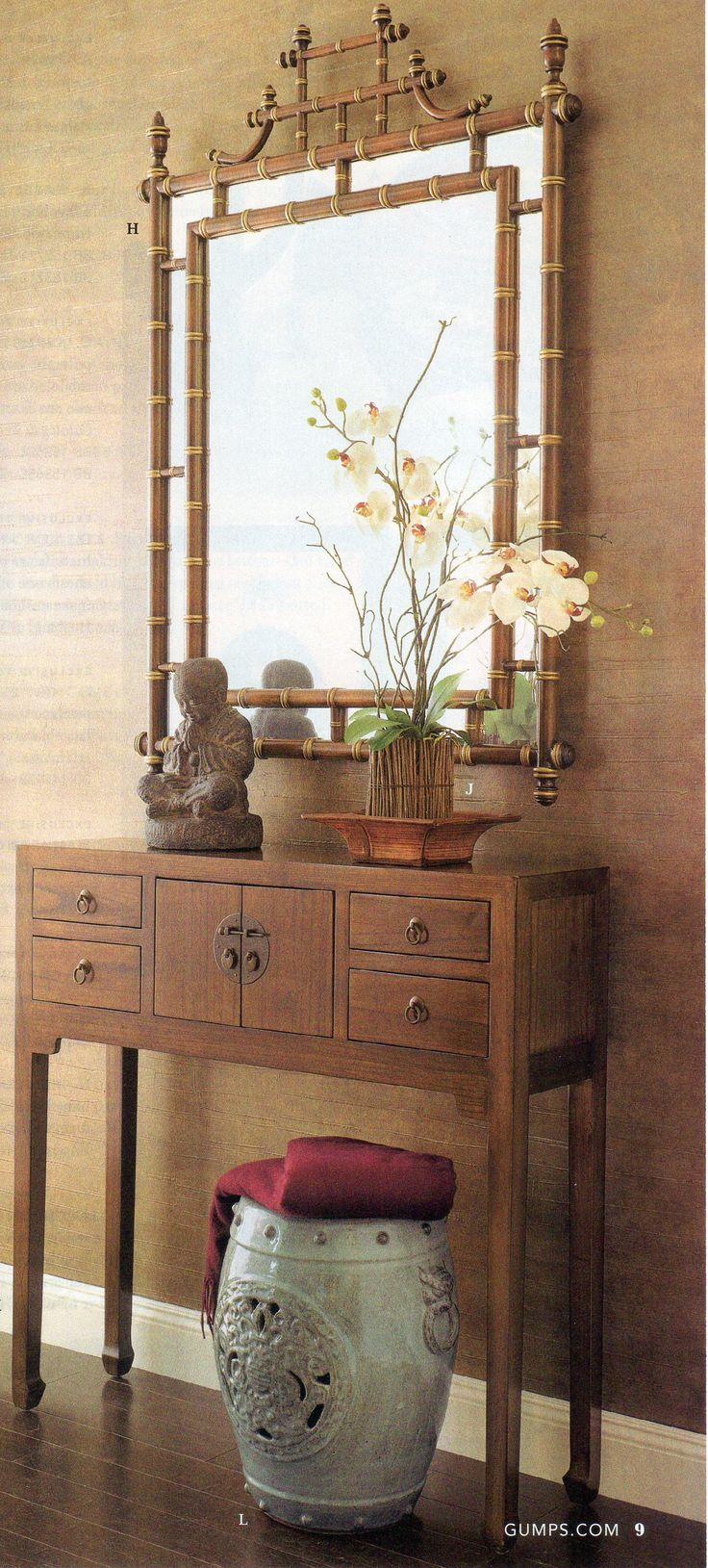 love the whole thing - Asian inspired look - console, and mirror and the colors, and decor