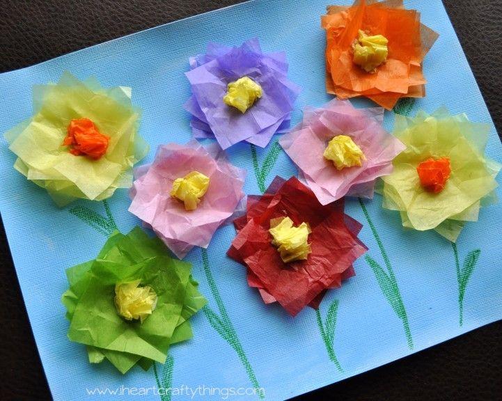 Tissue Paper Flower Art Kid Stuff Pinterest Flower Art Tissue