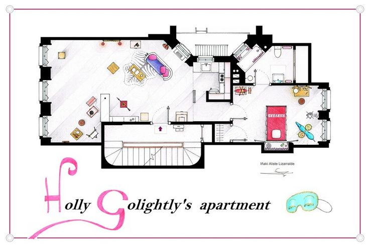Breakfast at Tiffanys Apartment floorplan Poster by ~nikneuk on deviantART