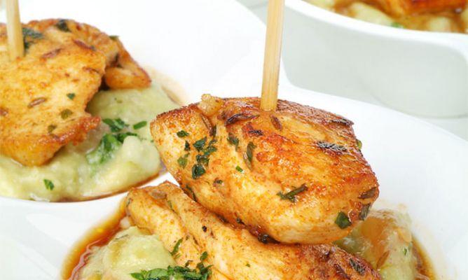 Receta de Brochetas de pollo con guacamole