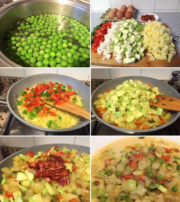 La tortilla paisana es una variante de tortilla de patatas a la que se añaden verduras y embutido. Elige verduras a tu gusto y un poco de chorizo o jamón.