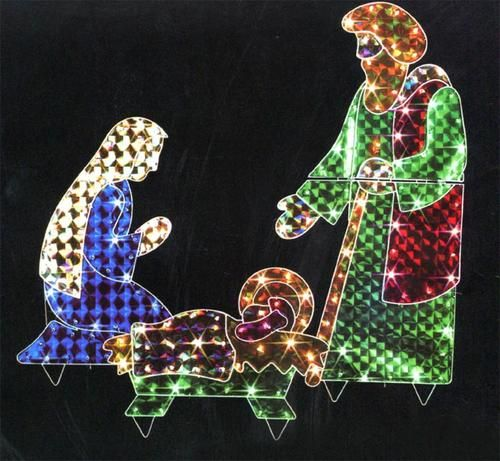 3-Piece Holographic Lighted Christmas Nativity Set Yard Art Decoration 42""""