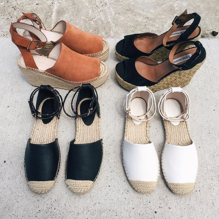 Wedges and espadrilles, black and white espadrilles, tan espadrilles, summer style, summer footwear  @thelustlife_