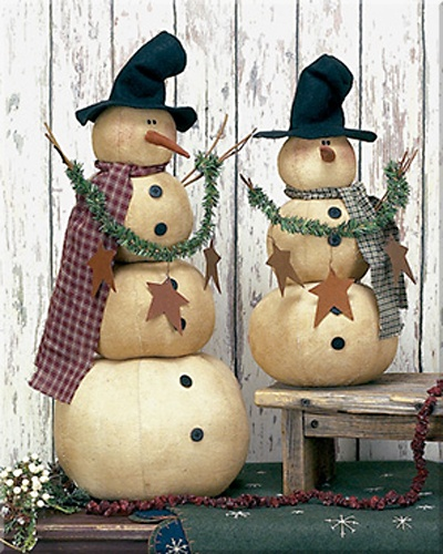 "Primitive Frizzle and Frazzle Snowmen Set. Size: 16½"" Tall and 23½"" Tall. Material: Fabric. Both primitive snowmen are included in the set."