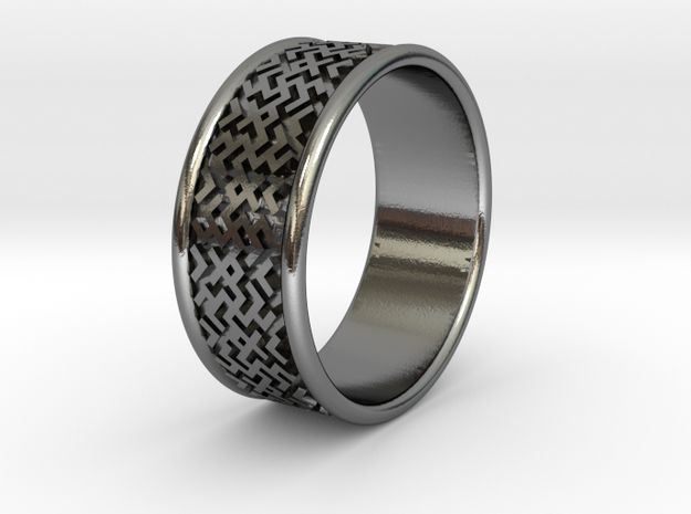 Slavic style ring 16mm (5.5 US size) in Polished Silver