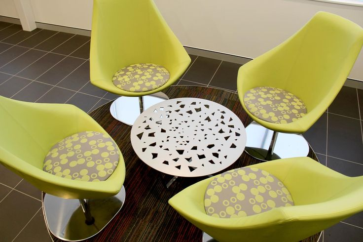 reception chairs, reception table, funky fabrics