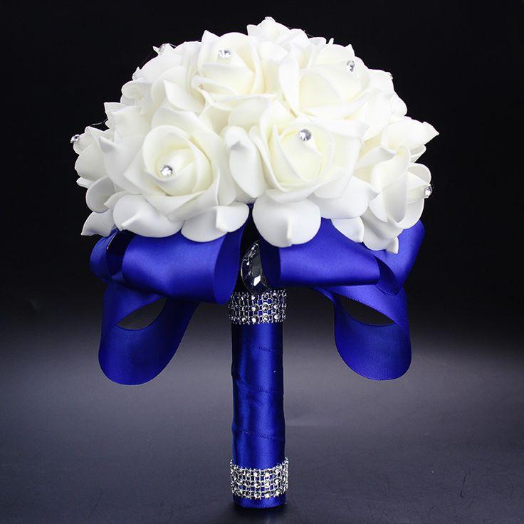 Elegante Koningsblauw Paars Rood Fuchsia Rose Kunstmatige Bruids Bloemen Bruid Boeket Bruidsboeket Crystal Zijden Lint