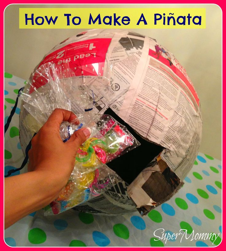 Repeat Steps 1-3 to cover the party hats and the rest of the pinata with crepe paper.