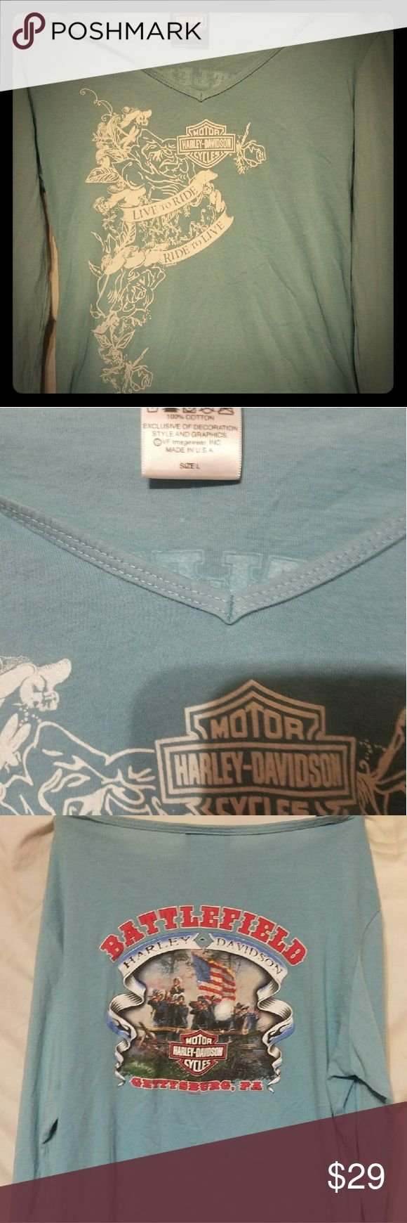 Harley davidson long sleeve shirt Great condition harley shirt Baby blue color Bought from pittsburgh harley dealer Harley-Davidson Tops Tees - Long Sleeve