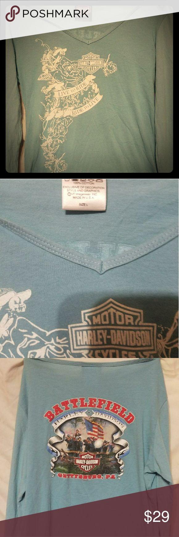 Harley davidson long sleeve shirt Great condition harley shirt Baby blue color Bought from pittsburgh harley dealer Harley-Davidson Tops Tees - Long Sleeve