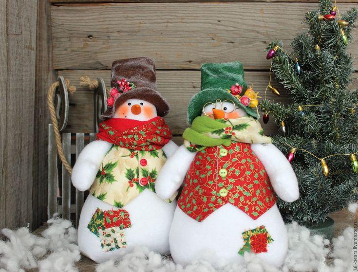 Купить Новогодние снеговики. Игрушка интерьерная - комбинированный, снеговик, новый год 2017, новогодний интерьер