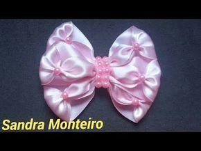 Laço elegante, feita com fita de cetim, Sandra Monteiro - YouTube