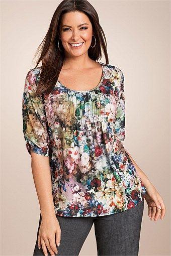 Plus Size Women's Fashion - Sara Scoopneck Tee