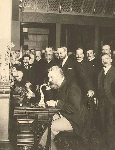 Alexander Graham Bell (born Edinburgh 1847; died Canada 1922). Inventor of the telephone.